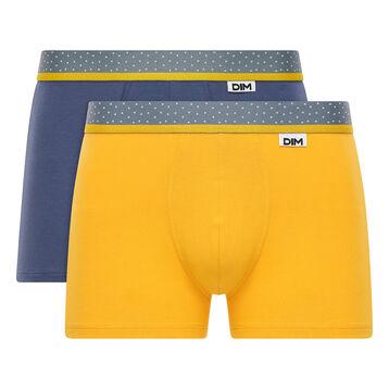 Lot de 2 boxers jaune moutarde et bleu - Dim Mix and Dots, , DIM