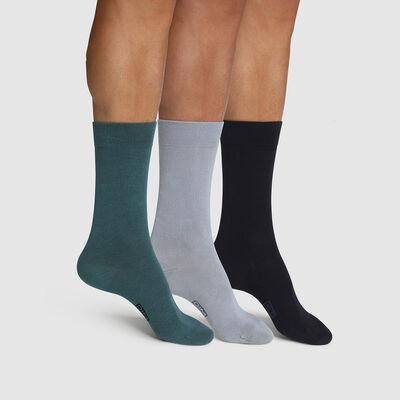 Pack of  3 pairs of men's socks cotton Blue Green Basic Cotton, , DIM
