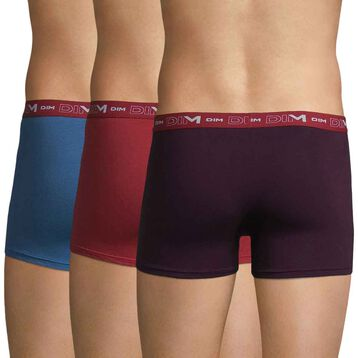 Lot de 3 boxers violet, bleu et rouge Coton Stretch-DIM