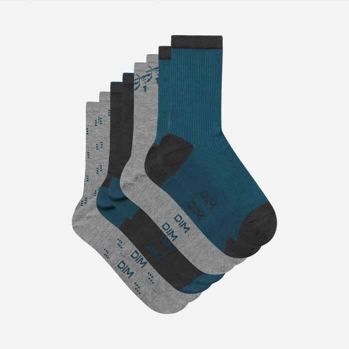 Dim Pack of 4 Pairs of Women's Lapis Lazuli Grey Cotton Socks, , DIM