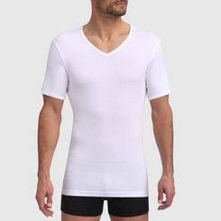 Dim Excellence seamless cotton V-neck t-shirt in white, , DIM