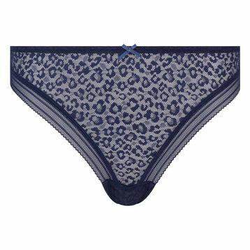 Infinite blue microfiber thong with leopard print lace Dotty Mesh Panty Box, , DIM