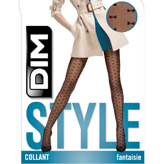 Collant fantaisie imprimé petits nœuds noir Style de Dim 20D, , DIM