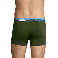 Stretch cotton trunks with printed waistband Olive Green, , DIM