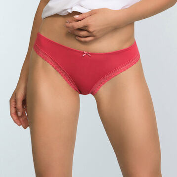 Casual Red microfiber thong Micro Lace Panty Box, , DIM
