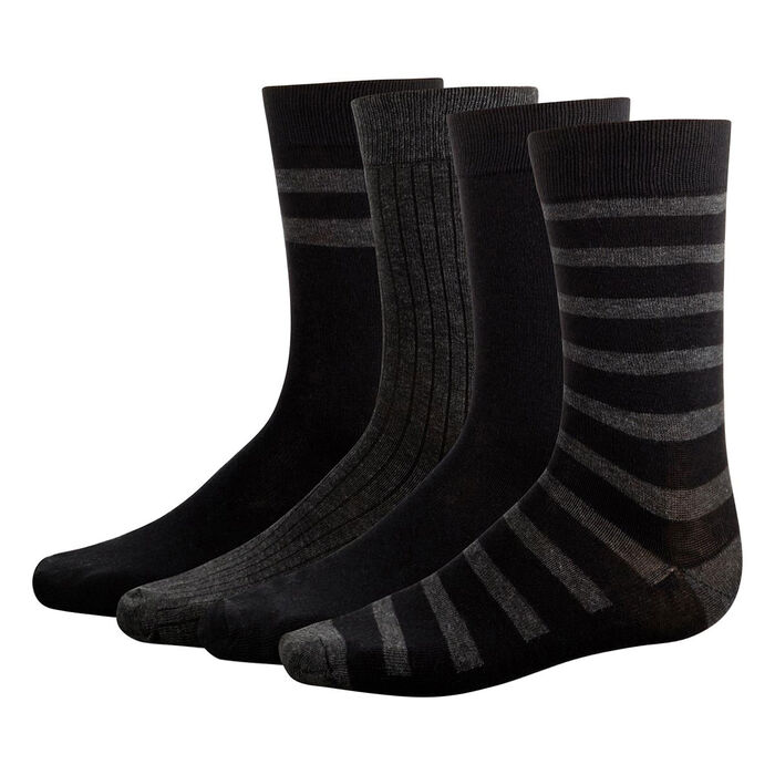 4 pack men's calf socks in Black and Anthracite Grey Eco Dim, , DIM
