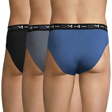 3 pack blue, grey and black men's briefs - Coton Stretch, , DIM