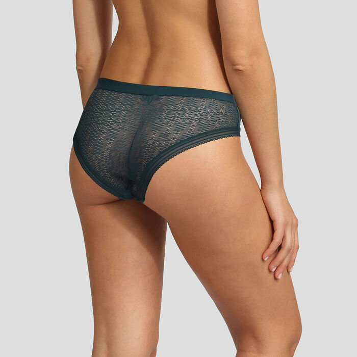 Dim Mod green microfiber and lace shorty, , DIM