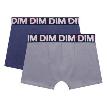 2 pack blue and light grey trunks for Boy - Eco Dim, , DIM