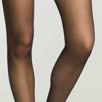 Women's semi-opaque black tights with stripes, , DIM