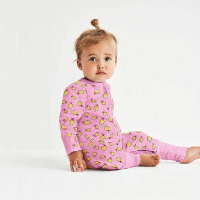 Dim Baby Pink cotton stretch baby pyjama with zipper, lemon print, , DIM