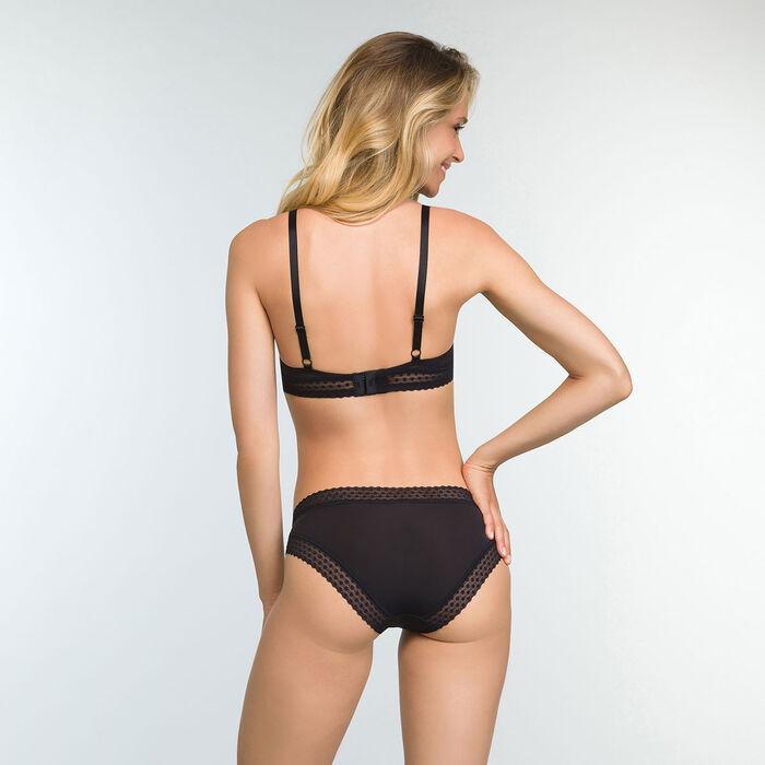 Women's Trendy Micro Microfiber and Lace Briefs in Black, , DIM