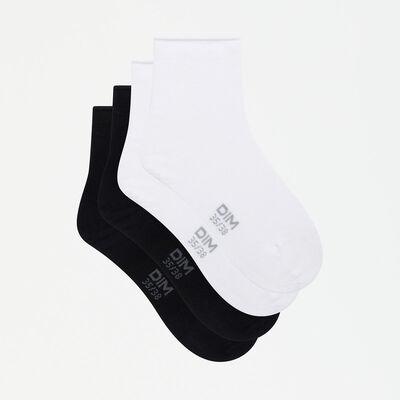 Lot de 2 paires de socquettes femmes en modal noir blanc Dim Modal , , DIM