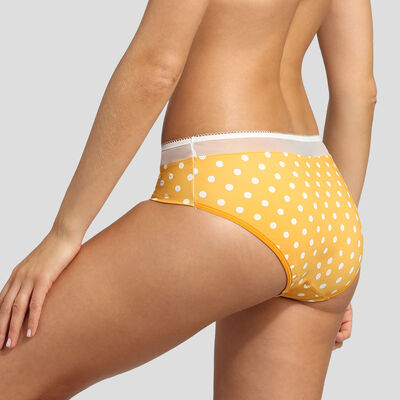 Yellow polka dot microfiber briefs Dim Generous Retro , , DIM