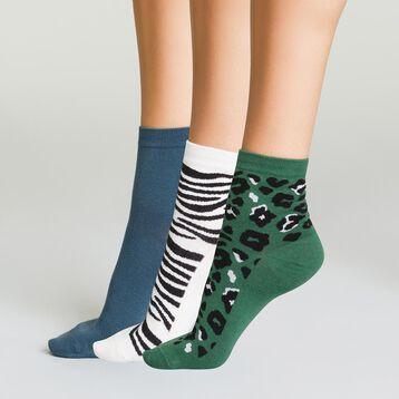 Lot de 3 paires Socquettes Courtes Coton pour femme Motifs Animaliers, , DIM