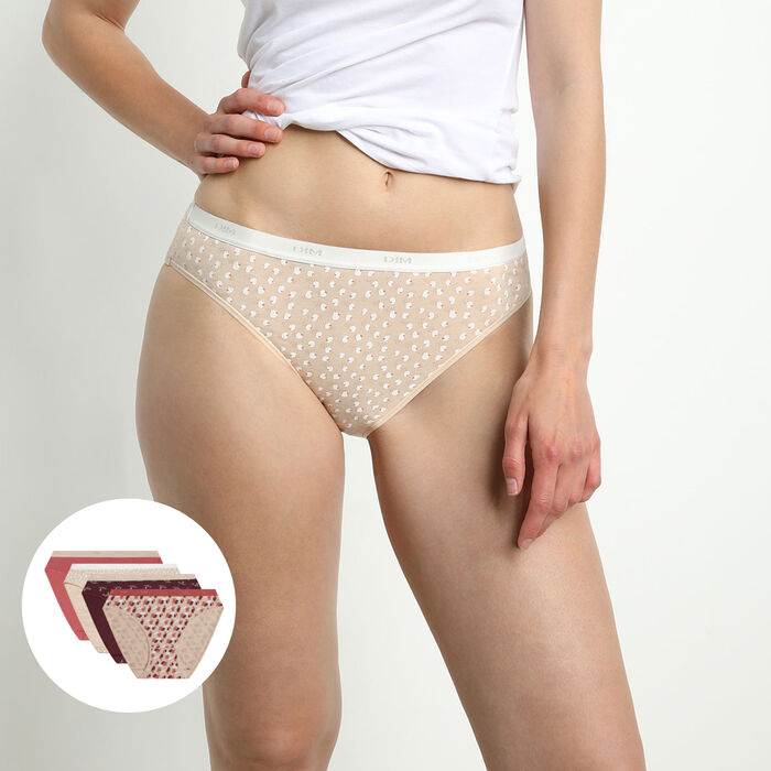 Les Pockets Pack of 4 Women's Stretch Cotton Briefs with Feminine Patterns, , DIM