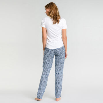 White pyjama pants with floral print - Fashion, , DIM