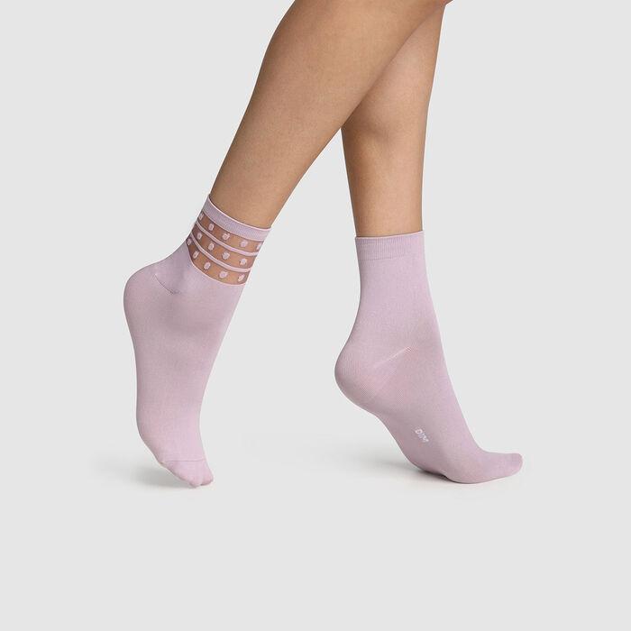Pack of  2 pairs of women's microfibre socks with Lavender Dim Skin polka dots, , DIM