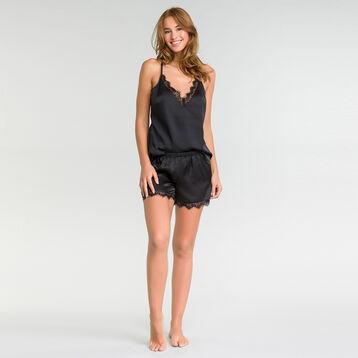 Short de pyjama en satin et dentelle noir - Glamour, , DIM