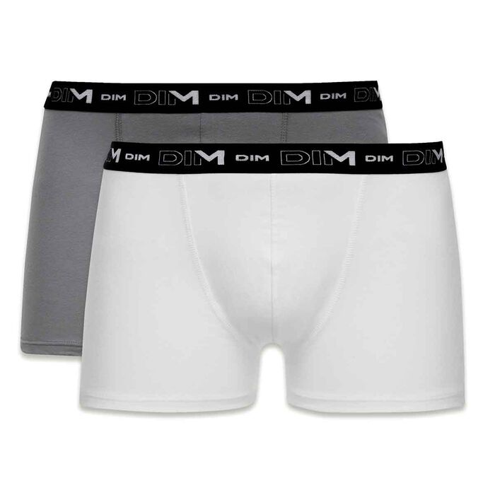 Lot de 2 boxers anthracite et blanc DIM Coton Stretch-DIM