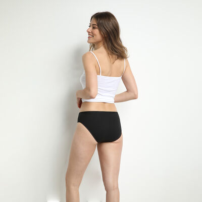 Pack of 2 pairs of Pur Coton midi knickers in black, , DIM