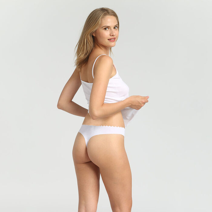 Lot de 2 strings en coton stretch new skin/blanc Body Touch Coton, , DIM