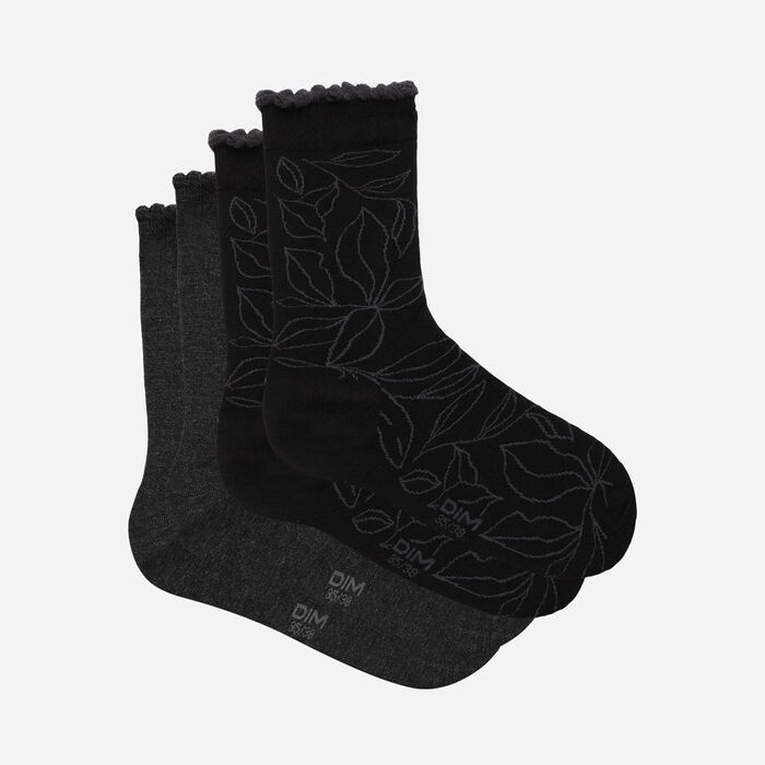 Dim bamboo Pack of 2 pairs of Anthracite  XL women's socks with  leaf pattern, , DIM