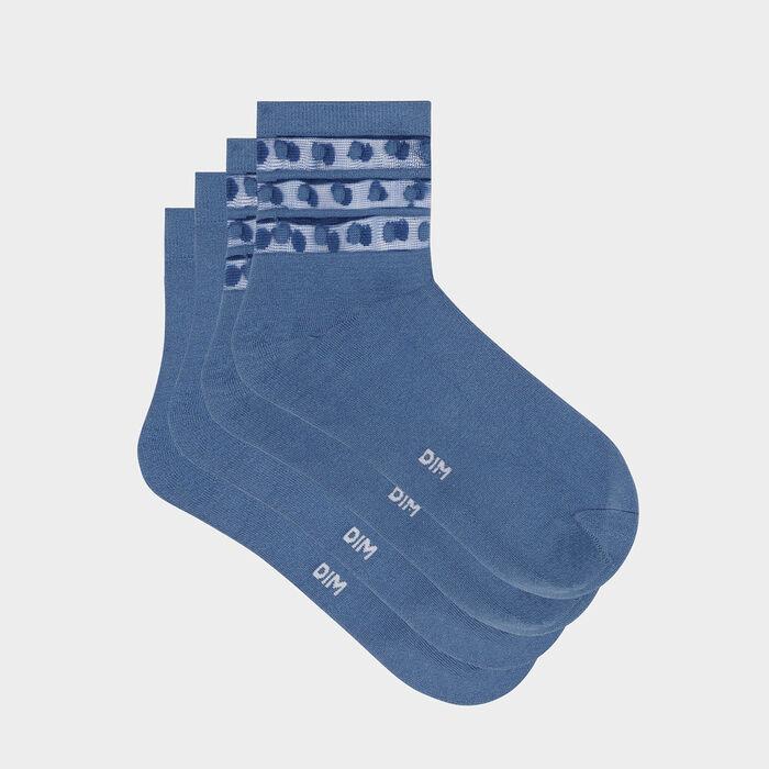 Pack of  2 pairs of women's socks microfibre tulle polka dots Blue Dim Skin, , DIM