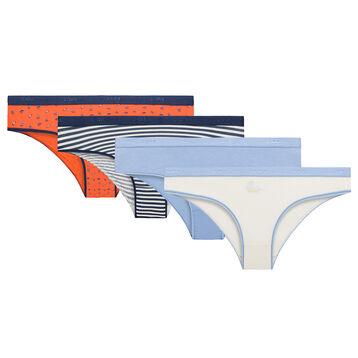 Lot de 4 culottes Coquillages - Les Pockets Coton Stretch, , DIM