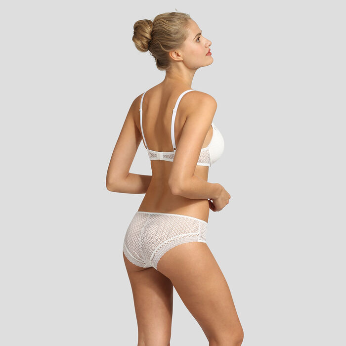 Dim Résille Chic white lace push-up triangle bra, , DIM