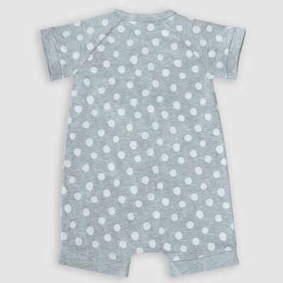 Dim Baby Grey grey cotton stretch baby romper with white polka dots pattern, , DIM