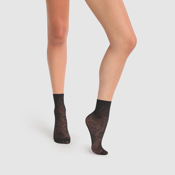 Dim Style 35D Fancy black socks with anemone lace pattern, , DIM