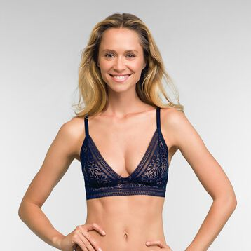 Infinite Blue Triangle Lace Bra Sublim Fashion, , DIM
