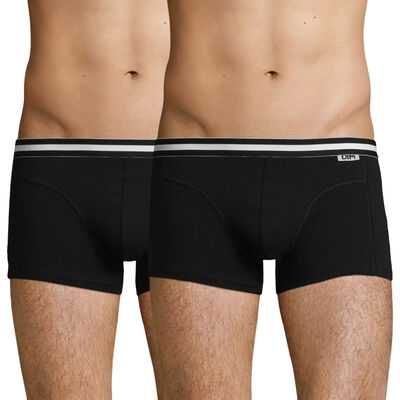 Pack of 2 pairs of black EcoDIM stretch cotton trunks, , DIM