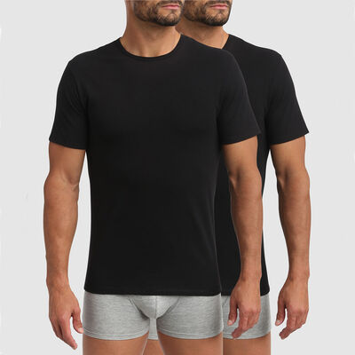 Dim XTemp pack of 2 active thermoregulation round neck t-shirts in black, , DIM