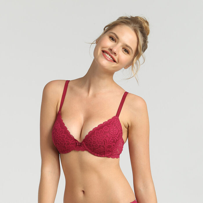 Dim Sublim Dentelle varnish red padded balconette bra, , DIM