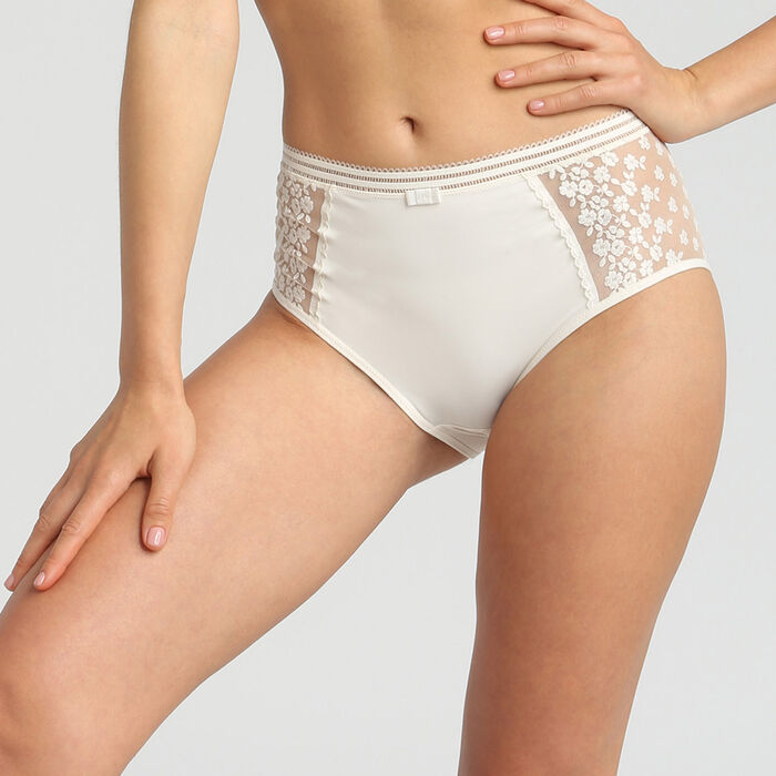 High waist briefs with mother of pearl embroidery Generous Collector by Dim, , DIM