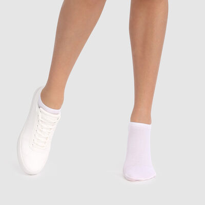 Dim Opaque white breathable cotton socks for sneakers, , DIM