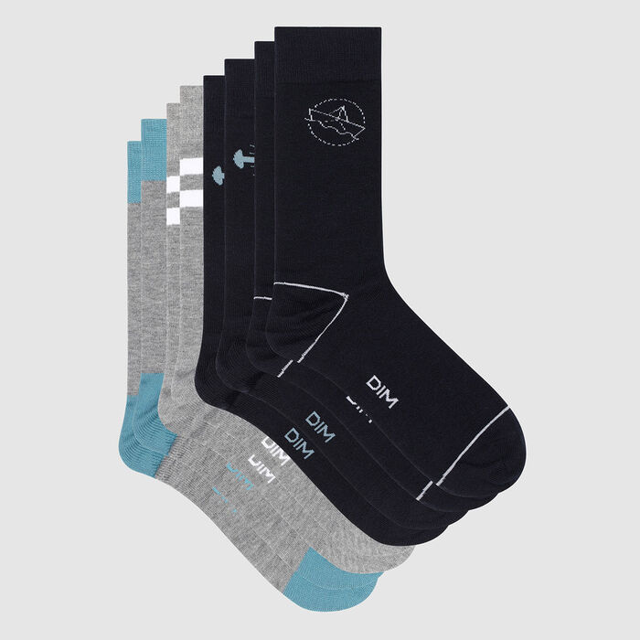 Pack of  4 pairs of men's socks with navy motif in Blue Les Bons Plans, , DIM