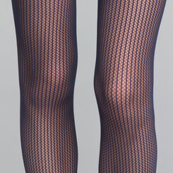 Navy Blue Stripes Fishnet 73 Tights - DIM Style, , DIM