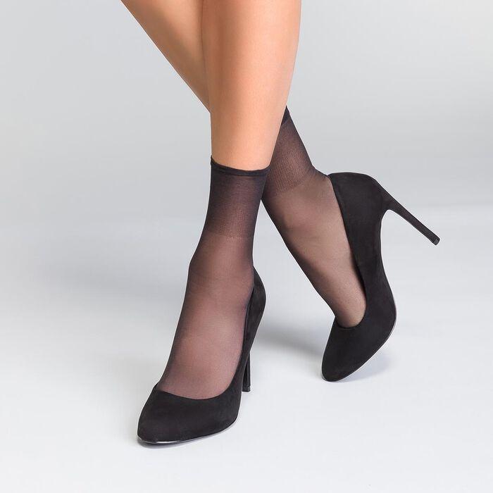 Pack of 2 Beauty Resist 20 ladder resist ankle highs in black, , DIM