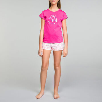 Intense pink pyjama set wit shorts Dim Girl - Nuit Cool, , DIM