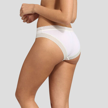 Pearly white microfiber and lace briefs Dim Trendy Micro, , DIM