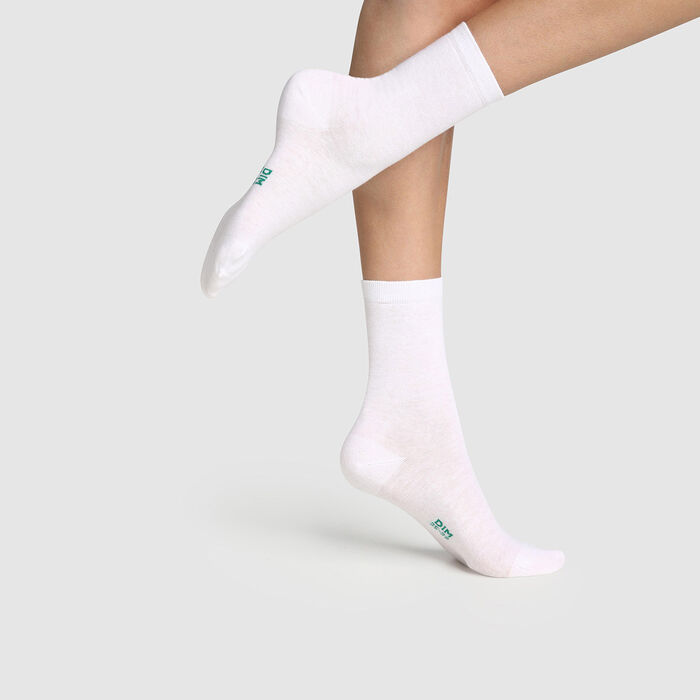 Pack of  2 pairs of women's organic cotton socks White Green by Dim, , DIM