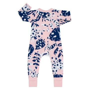 Pink Tropical Print Cotton Stretch Zipped Pyjama Dim Baby, , DIM