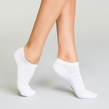 2 pack women's white ankle socks in cotton with lurex, , DIM