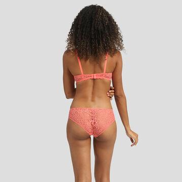 Lace coral pink push-up balconette bra Dim Sublim, , DIM