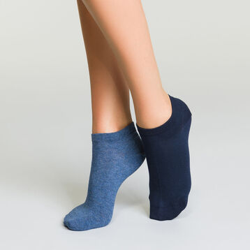2 pairs of Basic Cotton short ankle socks in Navy Blue and Blue Jeans, , DIM