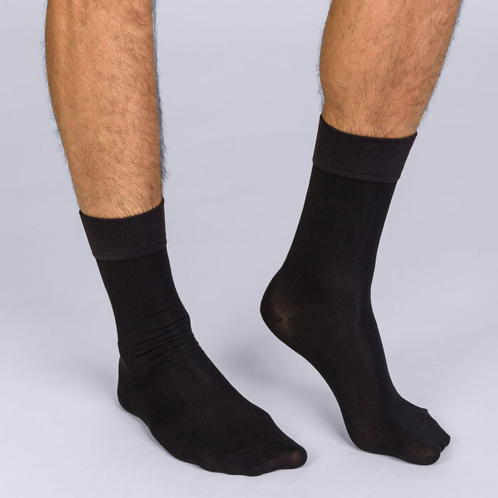 Men's Soft Touch Black Half Socks, , DIM