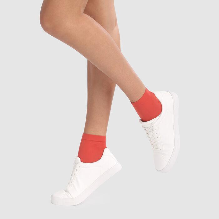 Dim Style 2 pack apple red opaque velvet socks 50D , , DIM